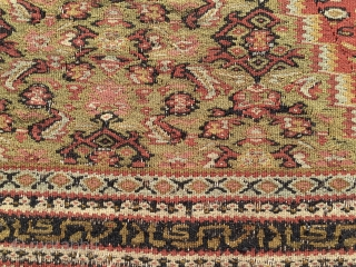 Antique Senneh kilim. Cm 195x105. Mid/late? 19th century or earlier. In the heads the inscriptions say: Congratulations!, repeated several times. Very, very thin, damaged here and there, not for the floor. Great  ...
