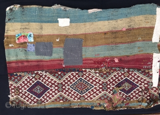 Straight from the nomad's tent. East Anatolian cuval or storage bag. Cm 75x120. 100 years old or so. Complete and with all the patches in the world. Great natural saturated colors. An  ...