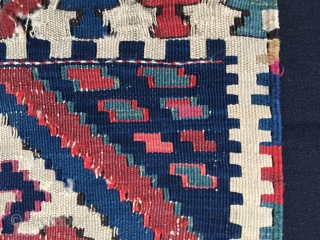 "Caucasian or Shahsavan? kilim khorjin bag face. Cm 48x52. End 19h c or earlier. Great dyes. Condition issues do not diminish the beauty of this lovely modern art ""painting"". Affordable price. P.S.  ..."
