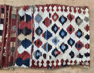 Shahsavan kilim khorjin. Cm 50x124. Late 19th c. Natural saturated colors. All wool, no cotton. Complete and in good condition. No restorations, no reweaves, no holes, no tears, no color running, no  ...