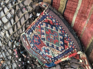 Shahsavan qashoqdan or spoon bag. Cm 120x240. 3 sumack bags plus intricate & elaborated net with lots of kind of Turkish dileks, wishes or protection items. Front and back in complete, original  ...