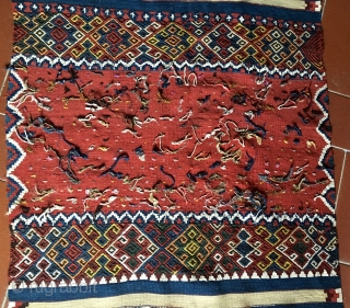 "Malatya area wonderful wedding kilim strip. Size is cm 88x372. Datable end 19th/early20th c. In mint condition. Great, natural colors. Lots of ""dileks""/wishes. Full of love & promises."