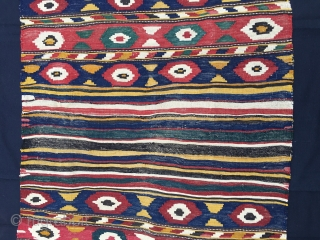 Caucasian kilim mafrash. Kazak Bordjalu village. Cm 96/98x115/126. Late 19th, early 20th c. Natural saturated great colors, see green, yellow, blue, madder red,...a small wonderful rainbow..... Really a colorful jewel.