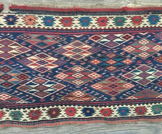 Shahsavan Sumack mafrash long panel. Cm 44x94. Primitive, slighltly uneven, but with very fine weave, fantastic natural saturated colors and with a great diamond pattern guarded by a gorgeous white ground border  ...