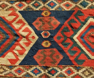 Kazak Bordjalu kilim mafrash long panel. Cm 50x100 ca. Lovely colors, antique, good conditions, with minor issues..