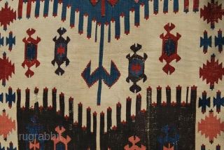 Western Anatolia kilim strip. Cm 86x342 ca. Mid 19th century. Could be an Aydin Cine or from Karakuzu village near Bergama. Great pattern, great saturated colors, among them a super aubergine………rare &  ...