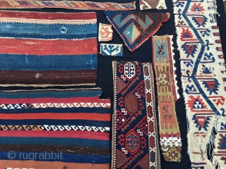 14 East Anatolian kilim fragments/cuts. All over 100 years old and with natural colors. Anybody with sparks of creativity? Price is 280 € plus shipping.