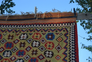 """This is a great Qashqai kilim. Because of the pattern I call it """"Diamond Qashqai"""" or, due to its background story """"Kabul Qashqai"""". Size is cm 297x172 or ft 9.74x6.64. Age should  ..."""