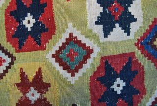 "This is a great Qashqai kilim. Because of the pattern I call it ""Diamond Qashqai"" or, due to its background story ""Kabul Qashqai"". Size is cm 297x172 or ft 9.74x6.64. Age should  ..."