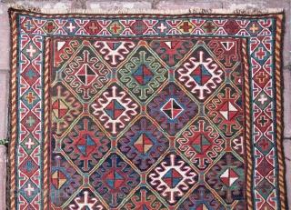 Shahsavan sumack bag face. Cm 59x61 ca. End 19th c. All good colors. In good cond. A masterpiece.