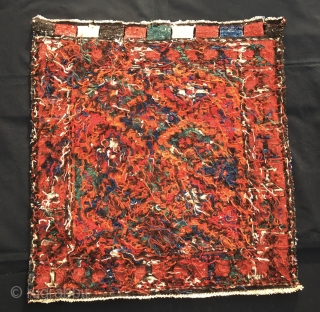 Beautiful Kurdish sumack korjin bag face. Cm 56x59. Early 20th c. Lovely colors, some are certainly natural, some others may not. Great sumack workmanship. Just out the collection of MT.