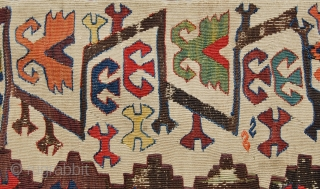 Aksaray, Central Anatolia, kilim strip. Cm 88x380, a biggie. Antique, beautiful, charming, great pattern, tens of lovely natural dyes. In good condition, with minor oxidized areas. No restorations, no penciling. For more  ...