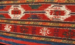 "Karabagh Sumack Mafrash. Complete. Mint condition. Great age. Great saturated colors. Wonderful design. Very fine weave. An almost identical piece appears in ""Sumack bags"" by John Wertime, plate 112, page 182. Please  ..."