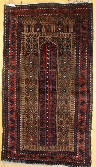 "Baluch ""Mosque Prayer"", first Quarter 20th c.; 114 x 64 cm (3`9"" x 2`1""), black bit corroded;very good condition,nice glossy wool, sides original, ends about 1cm (1"") Kelim,"