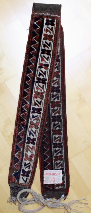 Baluch trapping; probably Timuri; around 1900; very good condition, very precisely knotted with a clear motive you find as main border in bags too,  lot of small details – see how  ...