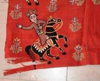 "Persian Suzani Textile Art, Weaving Silk on Cotton.  Nader Shah & Shah Abbas Battlefield  size 4.6x7.4 (54""x88"")"