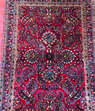 Nice Persian Sarouk 1920 in very good condition size is 3x5 all wool this has been cleaned by professional rug cleaners  It have very soft wool  Price $650 + shipping
