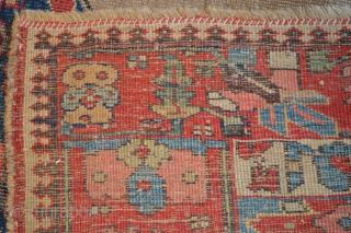 Unique Kurdish(Bijar) Rug Circa 1800 ( In good conditions)  size 4.4 x 6.4 (134 x 195 cm)