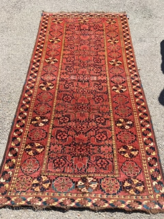 Turkman Bashir Rug Circa 1890 in nice conditions size is 4.8 x 7.6 (140X231)CM one corner has small repair .