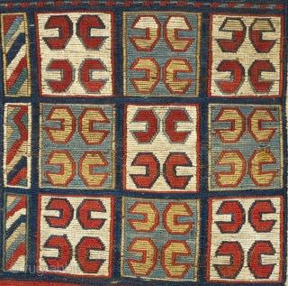 Caucasian soumakh bagface. Unusual design. Excellent condition. 36 x 37 cm.