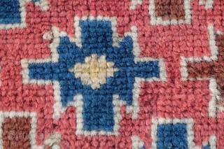 Pile bagface, probably Kurdish Great colors Size: 47 x 47 cm Knots: Symmetrical  Condition: Excellent, long silky pile