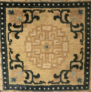 Ninghsia Seat, mid 1800s, 23 in x 21 in (58 cm x 53 cm), wool with added velvet ends. Ex Blau collection. Full pile, excellent condition. A quality piece from a known  ...