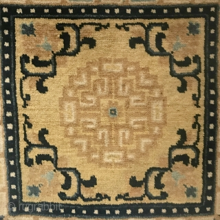 Ninghsia Seat, mid 1800s, 23 in x 21 in (58 cm x 53 cm), wool with added velvet ends. Ex Blau collection. The velvet was added by Blau and confirmed by his  ...
