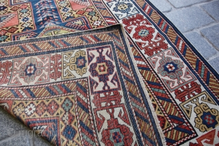 Wonderful Kuba Shirvan in brillant Yellow Field with Surahani Design and Kufic Border!  The rug doesnt really show its own beauty on Main Photo, detail photos gives better idea about the colors and  ...