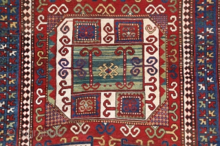This is very colorful example of A type Georgian Karachoph from Late 19th C. It has lovely  abrashed green center.  The size: 5.5 x 7.2 ft (165 x 220cm)