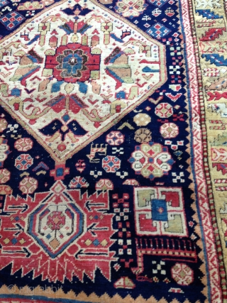 Superb Sahsavan Main Rug from 1850. Fantastic vivid color with lovely abrashed yellow field border. 10' ft x 3' 10''