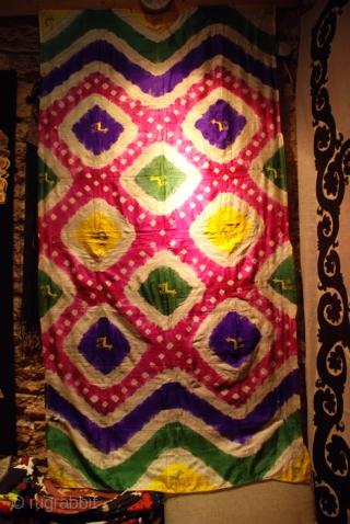 Uzbek tiedye 19th.century silk,size 115 x 210 cm