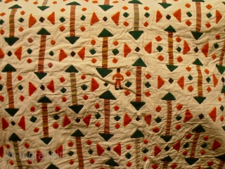Turkmen applique Asmalyk.wool patches on cotton.size 89 x 116 cm