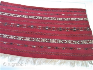 Antique Tekke Kizil chuval.(pair) 107 x 60 cm. mint condition. Offset knotting in white parts and crimson silk decorations---Selling one or pair.
