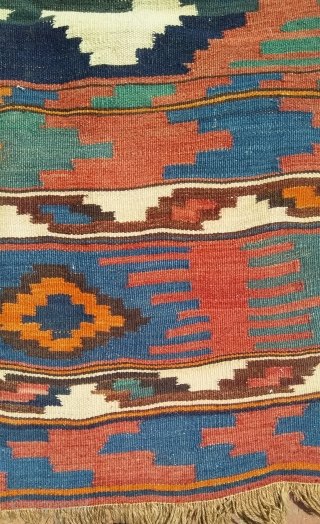 Persian shasavan nomad kilim , 85 x 215 cm.great natural colours.antique.