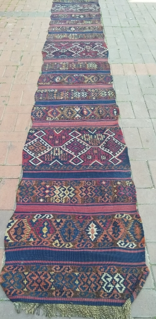 Rare size south east Anatolian Kurdish kilim.63 x 460 cm.
