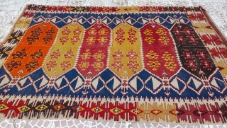 Turkish Anatolia saf kilim, synthetic orange