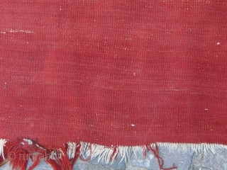 18. century Karapınar empty kilim. there are two kinds of red in the ground color of kilim. Size=170x100cm