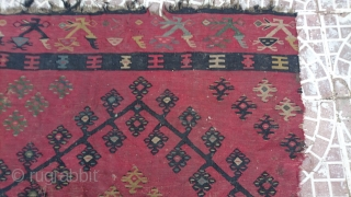 19thc Şarkoy Frakmet kilim size=154x132cm Need cleans