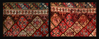 Sparkling Luri rug, 270x102cm, 19th century, most vibrant colours, beside a low, repaired area good pile, gently washed.