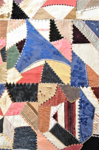 """Crazy quilt with """"exploding star"""" design, made and signed by Thora Hildebrand in 1896. American textile folk art at its best. Please compare with e.g. the Georgia Maltbie quilt at the Smithsonian  ..."""