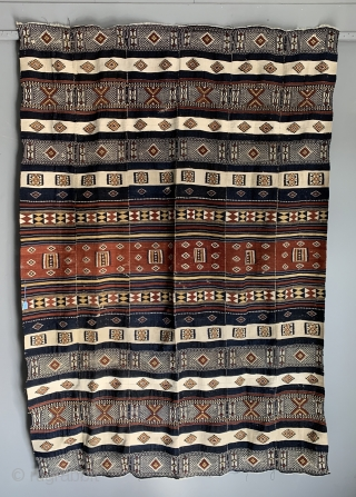 """West African Arkilla tent divide fragment from Timbuktu Mali. . Made out of six vertical panels the fragment now 210 x 140 ( 6ft * x 4ft 7 """" ) is about  ..."""