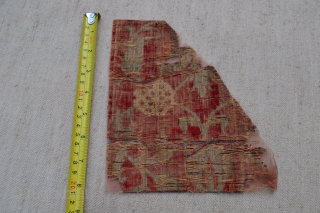 Indian Mughal velvet small fragment from the border of a ' Summer carpet ' circa 1600. Additional research and provenance information available on request.