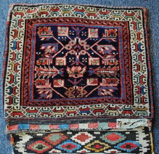 Colorful complete pair of Shah Sevan piled bags c1875 no restoration.