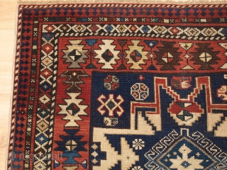 Antique Caucasian Shirvan rug with 'Lesghi star' design. www.knightsantiques.co.uk   Size: 5ft 0in x 3ft 6in (152 x 107cm).  Circa 1890.  A superb Caucasian rug with a single vertical row of three 'Lesghi Stars', Superb  ...