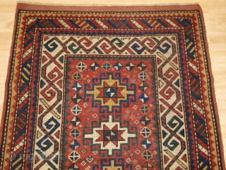 Antique Caucasian Kazak rug of small size with four Memlinc guls. www.knightsantiques.co.uk 