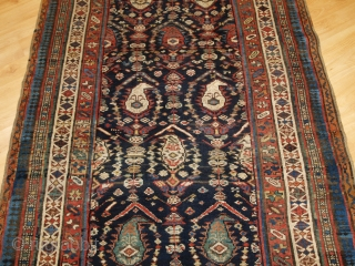 Antique South Caucasian Kurdish or Shahsavan runner, with all over boteh and shrub design. www.knightsantiques.co.uk   Size: 12ft 11in x 3ft 11in (394 x 120cm).   Circa 1880.  The indigo field is filled with large  ...