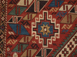 Antique Caucasian Daghestan rug with two diamond medallions on a soft terracotta red ground. www.knightsantiques.co.uk   Size: 5ft 10in x 4ft 0in (178 x 123cm).  Circa 1890.  An excellent Daghestan rug with two large central  ...
