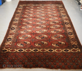 'C' gul centres, Antique Yomut Turkmen main carpet, Khiva Khanate, Central Asia. www.knightsantiques.co.uk 1st half 19th Century. Size: 9ft 5in x 5ft 3in (288 x 160cm). This outstanding early Yomut main carpet was published  ...