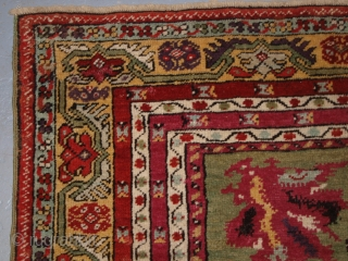 Antique Central Anatolian Kirsehir village rug of traditional design with great colour. www.knightsantiques.co.uk 