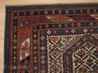 Antique Caucasian Daghestan prayer rug with floral lattice on an ivory ground. www.knightsantiques.co.uk 